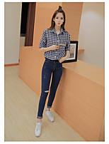 Women's Casual/Daily Simple Spring Summer Shirt,Print Check Shirt Collar ½ Length Sleeve Cotton Thin