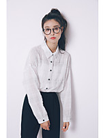 Women's Casual/Daily Simple Shirt,Solid Square Neck Long Sleeve Cotton Others