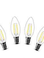 2W E14 LED Kerzen-Glühbirnen C35 2 COB 200 lm Warmes Weiß Dekorativ AC 220-240 V 4 Stück