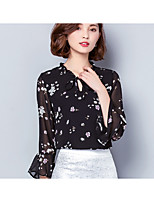 Women's Going out Vintage Blouse,Solid Round Neck Long Sleeve Cotton