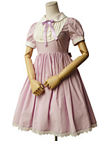 One-Piece/Dress Sweet Lolita Rococo Cosplay Lolita Dress Solid Short Sleeve Knee-length Dress For Cotton