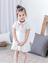 Girl's Casual/Daily Solid Patchwork Dress,Cotton Polyester Summer Sleeveless