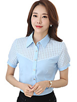 Women's Wild Solid Shirt Collar OL Work Patchwork Summer Short Sleeve Chiffon Shirt