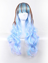 Long Body Wave Blue Lolita Women Synthetic Wig Fiber Cheap Cosplay Party Wig Hair