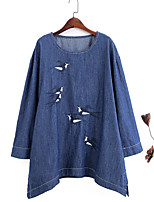 Women's Casual/Daily Simple Summer Fall Blouse,Solid Round Neck Long Sleeve Blue Cotton Thin