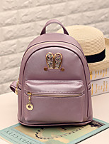 Unisex Backpack PU All Seasons Formal Sports Outdoor Champagne White Black