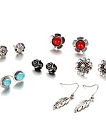 6Pcs/set Stud Earrings Unique Design Leaf Flower Style Alloy Jewelry For Party Daily Casual 1 Set