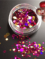 1bottle moda misturado brilho colorido prego arte glitter rodada paillette fatia laser unha arte beleza redonda fatia decoração p3
