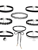 8PCS/Set Women's Choker Necklaces Jewelry Alloy Basic Tattoo Style Vintage Durable Black Jewelry ForHalloween Daily Casual Sports Outdoor Office &