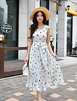 DABUWAWA Women's Going out Beach Holiday Boho Cute Street chic Sheath Chiffon Swing DressFloral Color Block Round Neck Midi Sleeveless Polyester