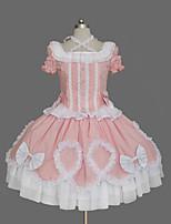 Une Pièce/Robes Doux Lacets Princesse Cosplay Vêtrements Lolita Couleur Pleine Nœud papillon Mancheron Cloche Manches Courtes Court / Mini