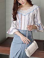 Women's Casual/Daily Simple Blouse,Striped Round Neck ½ Length Sleeve Cotton