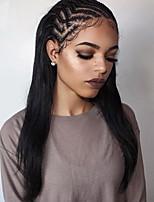 10-26 לא מעובד 130% צפיפות משי בצבע שחור טבעי בתולה הודית ישר פאת תחרה מלאת פאות תחרה מול אדם שיער