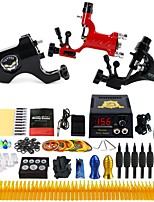 Complete Tattoo Kit 3 Pro Rotary Tattoo Machine Power Supply Foot Pedal Needles Grips Tips TK355