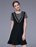Women's Going out Casual/Daily Cute T-shirt Dress Suits,Striped Round Neck Short Sleeve High Elasticity