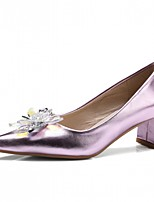 Women's Heels Spring Fall Comfort Leatherette Party & Evening Dress Casual Chunky Heel Blushing Pink Sliver