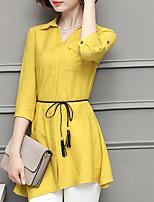 Women's Asymmetrical Casual/Daily Simple Shirt,Solid Shirt Collar Long Sleeve Cotton Thin