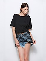 Damen Solide Sexy Street Schick Ausgehen Lässig/Alltäglich T-shirt,Bateau Frühling Sommer Kurzarm Baumwolle Mittel