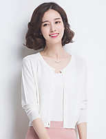 Women's Casual/Daily Simple Regular Cardigan,Solid Round Neck Others Spring Summer Medium Micro-elastic