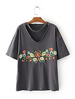 Damen Stickerei Sexy Einfach Street Schick Ausgehen Lässig/Alltäglich T-shirt,V-Ausschnitt Sommer Kurzarm Seide Baumwolle Mittel