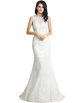 Sheath / Column Wedding Dress Sweep / Brush Train Jewel Lace with Lace