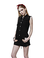 PUNK RAVE Women's Sexy Black Punk Style Stand Up Collar Sleeveless Dress