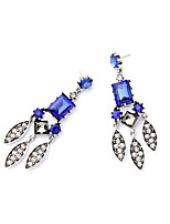 Hoop Earrings Crystal Euramerican Personalized Simple Style Chrome Blue Jewelry For Wedding Party Birthday Gift 1 pair