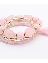 Euramerican Fashion Multilayer Big Round Pearl Tassel Layered Gemstone Bracelet