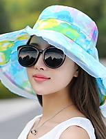 Women Ribbon Bow Flower Print Sun Summer Chiffon Folding Anti-ultraviolet Travel Beach Hat