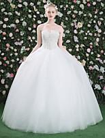 Princesa Vestido de novia - Clásico y Atemporal Hasta el Suelo Corazón Encaje Tul con Cuentas Flor Encaje Perla Lentejuela