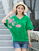 Women's Casual/Daily Simple T-shirt,Solid Embroidered Sweetheart Short Sleeve Acrylic