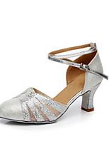 Customizable Women's Dance Shoes Paillette Modern Heels Customized Heel Performance Leopard Blue Silver Gold