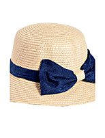 Women Ribbon Bow Straw Hat Sun Fisherman Summer Dome Grass Hat