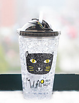450ml Mini Convenient Double Wall Travel Glass Cartoon Cat Water Bottle Drinkware