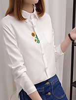 Women's Casual/Daily Simple Shirt,Solid Shirt Collar Long Sleeve Cotton