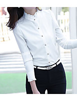 Women's Casual/Daily Simple Shirt,Solid Stand Long Sleeve Cotton Thin