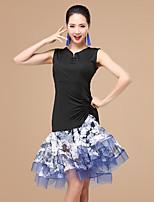 Shall We Latin Dance Dresses Women Performance Splicing Dress Shorts