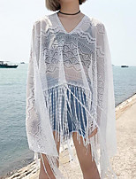 Women's Beach Simple Summer Blouse,Solid V Neck Long Sleeve Cotton Medium
