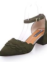 -Для женщин-Для прогулок Для офиса Повседневный-Замша-На толстом каблуке-клуб Обувь Формальная обувь-Обувь на каблуках