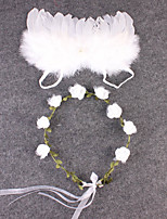 Newborn Baby's Feather Handmake Flowers  Modelling of the Angel White Photographic Cloths Headwear