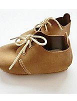 Girls' Baby Sneakers Comfort Leather Spring Fall Casual Comfort Flat Heel Yellow Khaki 1in-1 3/4in