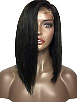 9A 급 레이스 전면 밥은 흑인 여성에 대한 인간의 머리카락 연속 130 % 밀도 페루 처녀 머리 글루리스 (glueless) 전체 레이스 가발 가발