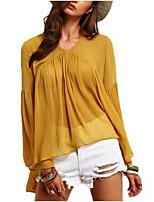 Для женщин На каждый день Весна Лето Блуза V-образный вырез,Простое Однотонный Длинный рукав,Полиэстер,Средняя