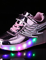 Girls' Sneakers Spring Fall Light Up Shoes Comfort Novelty PU Outdoor Athletic Casual Flat Heel LED Hook & Loop Lace-upBlushing Pink