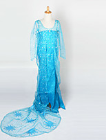 Teenage Cosplay Costume Kids Halloween Blue Princess Dress