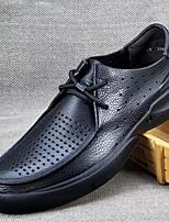 Черный-Для мужчин-Для офиса Повседневный-Наппа Leather-На низком каблуке-Кольцевые обувь-Мокасины и Свитер