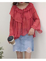 Women's Going out Simple Blouse,Polka Dot Round Neck Long Sleeve Polyester