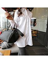 Chemise Femme,Couleur Pleine Sortie Décontracté / Quotidien simple Manches Longues Col de Chemise Coton Polyester Moyen