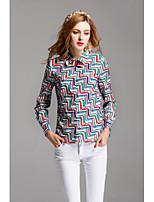 Chemise Femme,Géométrique Sortie Décontracté / Quotidien Mignon Printemps Eté Manches Longues Col de Chemise Polyester Moyen