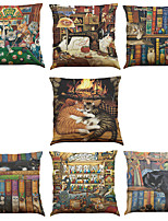 Set of 7 Lazy Cat Pattern Linen  Cushion Cover Home Office Sofa Square  Pillow Case Decorative Cushion Covers Pillowcases As a Gift